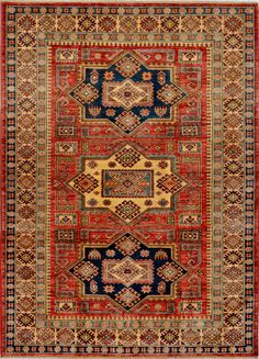 "Handmade Afghan Rust Oriental Kazak Rug 4' 11"" x 6' 10"" (ft) - No. 11964  http://alrug.com/rust-oriental-kazak-rug-4-11-x-6-10-ft-no-11964.html"