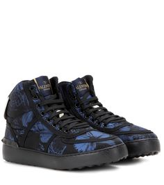 Valentino - Camubutterfly high-top sneakers - Exuding free-spirited character, the 'Camubutterfly' printed sneakers from Valentino bring statement attitude to your casual shoe edit. Accented with calf leather trims and the brand's signature 'Rockstuds', this pair can be worn with second-skin denim or shown off with a miniskirt. seen @ www.mytheresa.com