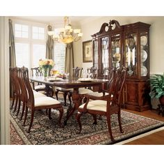 Lowest price online on all American Drew Cherry Grove Rectangular Casual Dining Set in Antique Cherry - Luxury Dining Room, Dining Room Sets, Dining Room Design, Dining Room Table, Formal Dining Tables, Elegant Dining, Outdoor Dining, Double Pedestal Dining Table, Extendable Dining Table