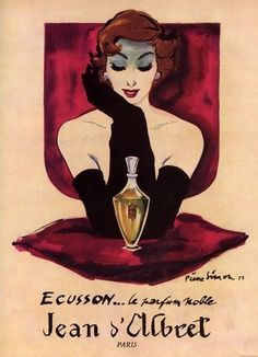 Ad for Ecusson perfume Jean D'Albret, 1950s