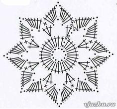 Crochet Snowflake + Free Pattern Step By Step + Diagram Crochet Snowflake Pattern, Crochet Stars, Crochet Snowflakes, Crochet Doily Patterns, Crochet Mandala, Crochet Diagram, Crochet Designs, Crochet Doilies, Crochet Flowers