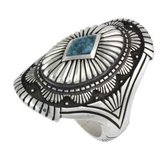 Sterling silver ring with the most amazing file and chisel work set with gem quality Lone Mountain turquoise by Lee Yazzie.