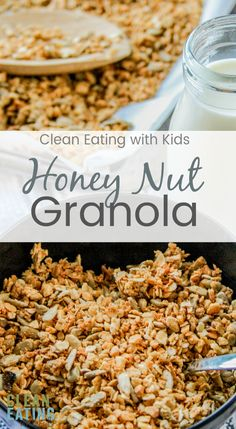 Quick and easy School Morning Breakfast. Clean Eating Honey Nut Granola. Make your own breakfast cereal! Super Easy to make and saves you a ton of money in groceries too. #cleaneating #cleaneatingbreakfast #cleaneatingwithkids