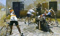 The Watercarriers: Tour de France 1961 Cycling Art: Pat Cleary