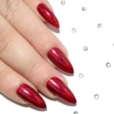 Red Holographic Stiletto Nails - - Sarah's Sparkles Nails - 1