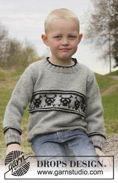 """Knitted DROPS jumper with skull pattern in """"Lima"""". Size 3 - 12 years. ~ DROPS Design"""