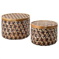 ANILINARE Opbergbak met deksel, set van 2 - bamboe zwart/bruin - IKEA Storage Baskets With Lids, Decorative Storage Boxes, Storage Bins, Storage Chest, Kallax Shelving, Dining Room Office, Ikea Family, Best Ikea, Water Hyacinth