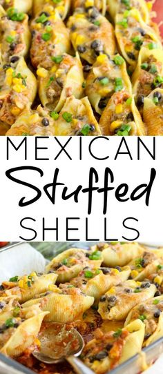 Creamy, cheesy and meaty Mexican Stuffed Shells are a great twist on traditional Mexican cuisine! Mexican Stuffed Shells, Stuffed Shells Beef, Stuffed Shells Recipe, Beef Recipes, Mexican Food Recipes, Pasta Recipes, Mexican Meals, Mexican Dishes, Dinner Recipes