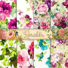 Watercolor Floral Floral Paper Digital Paper Pack by rosaliks Watercolor Paper, Floral Watercolor, Carta Collage, Diy And Crafts, Paper Crafts, Printable Paper, Free Printable, Digital Scrapbook Paper, Free Paper