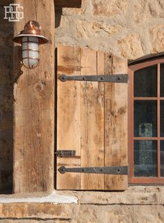 Love The Diamond Panel Window And Antique Wood Shutters On This Stone House Windows To