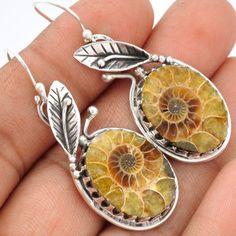 Fossil-Ammonite-925-Sterling-Silver-Earrings-Jewelry-SE64240