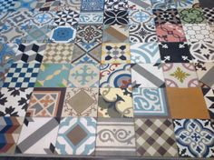 Cement tiles - Encaustic tile patchwork, genuine hand made tiles from Morocco.