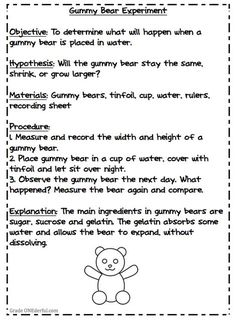 Grade ONEderful: Gummy Bear Experiment. Would be good to teach parts of a Science Fair Project