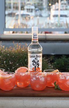 Grapefruit cocktail - rum, grapefruit juice, lime juice, and club soda!