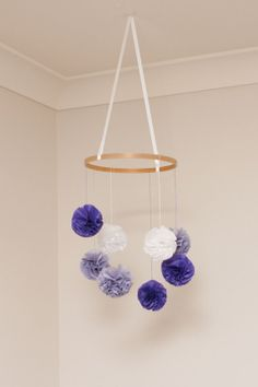 Baby Mobile  Purple Grey and White Pom Poms