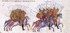 Description English: Byzantine cavalry driving the Arabs to flight, from the Madrid Skylites, Fol. 54v