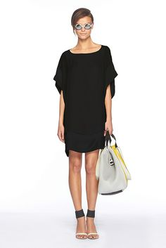 dvf simple black dress