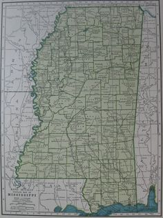 Vintage MISSISSIPPI MAP 1940s State Map  From 1947 Atlas UNUSUAL Color  Plaindealing 724 on Etsy, $9.95