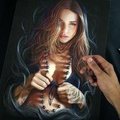 One of my favorite artworks Digital paint printed on canvas #togetherwerise #sullenclothing  #davidgarciatattoo