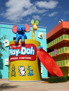 giant vintage Play Doh can in Florida at the Pop Century resort (Disney)