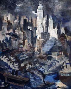 George Grosz. Lower Manhattan. 1934. DeYoung Museum, San Francisco. Seen 5/22/2016