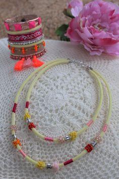 Velvet cord necklace and boho bracelet.