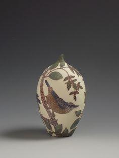 Nuthatch & Hornbeam sgraffito ceramic vessel