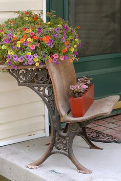Upcycled Old School Desk front porch