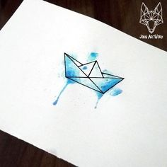 watercolor origami boat - Google Search