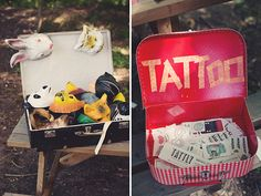 This entire wedding is impossibly cute but I love the idea of a temp. tattoo parlor!