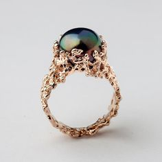 CORAL Black Pearl Ring Unique Rose Gold Engagement Ring by AroshaTaglia