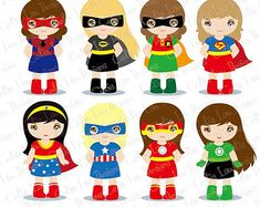 Girl Superheroes Digital Clipart 2 by LittleMoss on Etsy