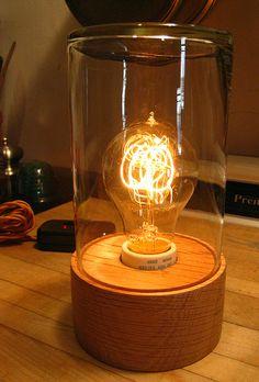DIY jar lamp with edison bulb