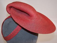 lovely vintage red straw tilt hat #millinery #judithm #hats