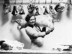 The first world war brought women to the butcher shops...