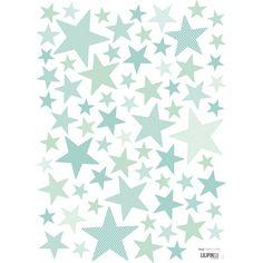 Planche de stickers Etoiles Mint tones (A3)