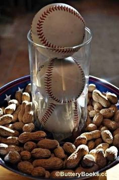 centerpieces  - (Replace baseballs with softballs; and replace peanuts with sunflower seeds)