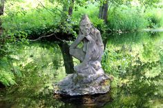 Stone vodyonoy near of restaurant in small village Peklo in Metuje river valley between Náchod and Nové Město nad Metují, eastern Bohemia, Russian Mythology, Garden Sculpture, Lion Sculpture, Rusalka, Baba Yaga, Mythological Creatures, Gods And Goddesses, Illustrations, Folklore