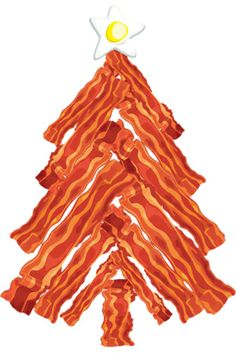 Bacon Christmas Tree - What's the best present anyone could get for Christmas? Bacon! Celebrate Baconmas... uh... Christmas with this fun Christmas tree made out of bacon topped off with a star shaped egg. Bacon makes everything better. Even the holidays! A Bacon Christmas tree t-shirt, hoodie, bag, pillow, ornament or other fun merchandise are perfect for decorating and make great gifts too!