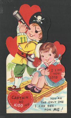 1959 LG Mechanical Valentines Day Card Pirate Girl Washed Awayinocean Skull Hat   eBay