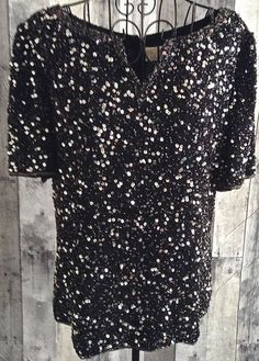 Scala Sequin Beaded Top Blouse 100% Silk Black Silver Fully Lined Size XL #Scala…