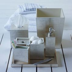 Master bathroom. Probably something similar at Target, or home goods, etc...  Lacquer Bath Accessories - Silver #westelm