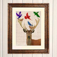 Deer Nesting Birds 8X10 Art Print Illustration by LoopyLolly, $15.00