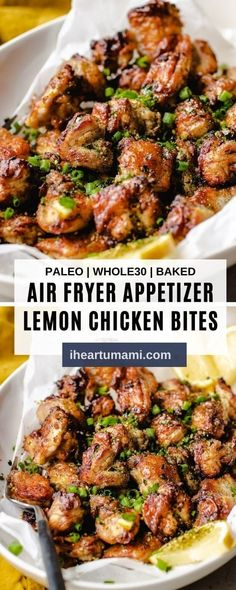 Air Fryer Lemon Chicken Bites with marinated chicken thighs air fried to golden crispy! No breading and starch and totally lemony delicious! #airfryerrecipes #chickenrecipes #airfryerchicken #lemonchicken #chickenbites #ketorecipes Whole 30 Snacks, Whole 30 Recipes, Marinated Chicken, Lemon Chicken, Appetizer Recipes, Dinner Recipes, Appetizers, Clean Eating, Healthy Eating