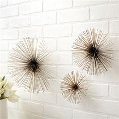 Wall Flowers Chrome Wall Art Set of 3 - $97 at Zinc Door - L 12.25w 6.5h / M 8.25w 4.25h / S 5.875w 3.25H