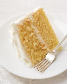 Simple layer cake with vanilla frosting. This easy all-purpose yellow cake takes just a bit longer to make than one from a packaged mix, but is it ever worth it. An instant test-kitchen favorite, it is absolutely delicious and will rise to any occasion. Easy Cake Recipes, Baking Recipes, Dessert Recipes, Just Desserts, Delicious Desserts, Yummy Food, Vanilla Frosting Recipes, Buttercream Frosting, Whipped Frosting