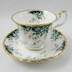 Royal Albert Tea Cup and Saucer with Green Flowers Royal