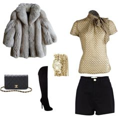 New Years Eve Outfit - Love the fur, boots and gold