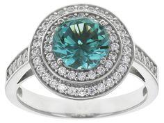 Bella Luce (R) 3.24ctw Caribbean Green (Tm) And White Diamond Simulant Rhodium Over Silver Ring