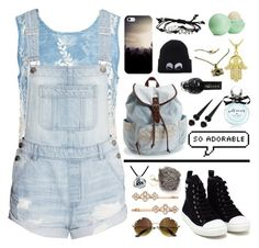 """Denim on Denim"" by jacilynn9 ❤ liked on Polyvore featuring Sans Souci, Moschino, Henri Bendel, Bling Jewelry, Aéropostale, Kate Spade, Icz Stonez, Casetify, Eos and Denimondenim"
